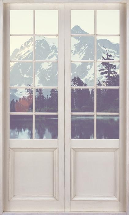 Papier peint vinyle Porte Blanche - Lac - La vue à travers la porte