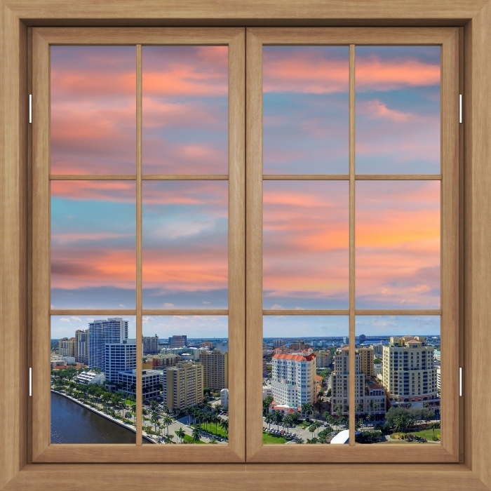 Vinil Duvar Resmi Kahverengi penceresi kapalı - Havadan görünümü - Pencere manzarası