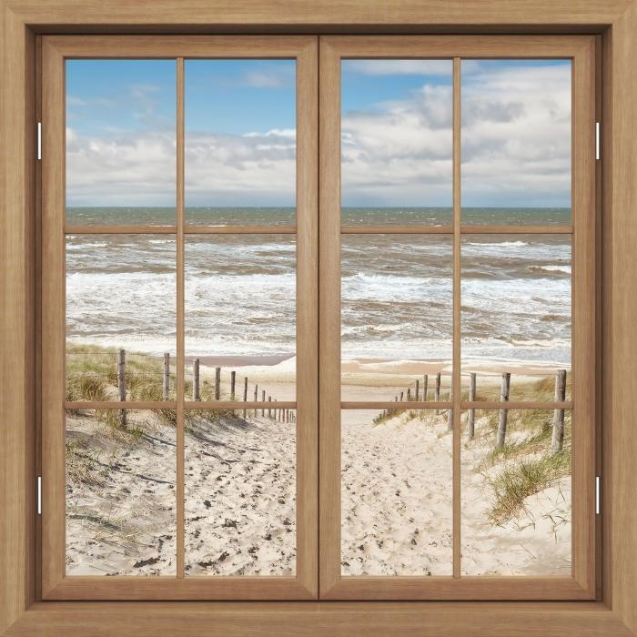 Fototapeta winylowa Okno brązowe zamknięte - Piasek na plaży w słoneczny dzień - Widok przez okno