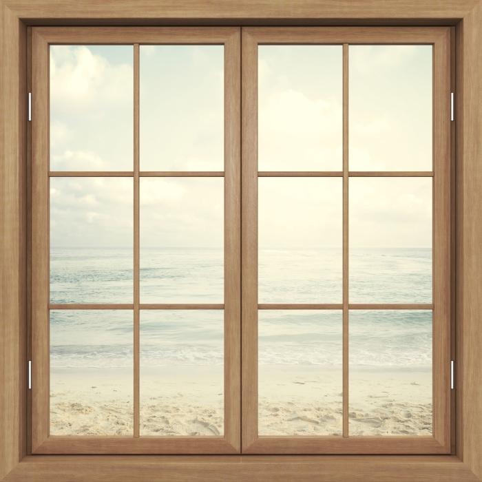 Fototapeta winylowa Okno brązowe zamknięte - Plaża w lecie - Widok przez okno