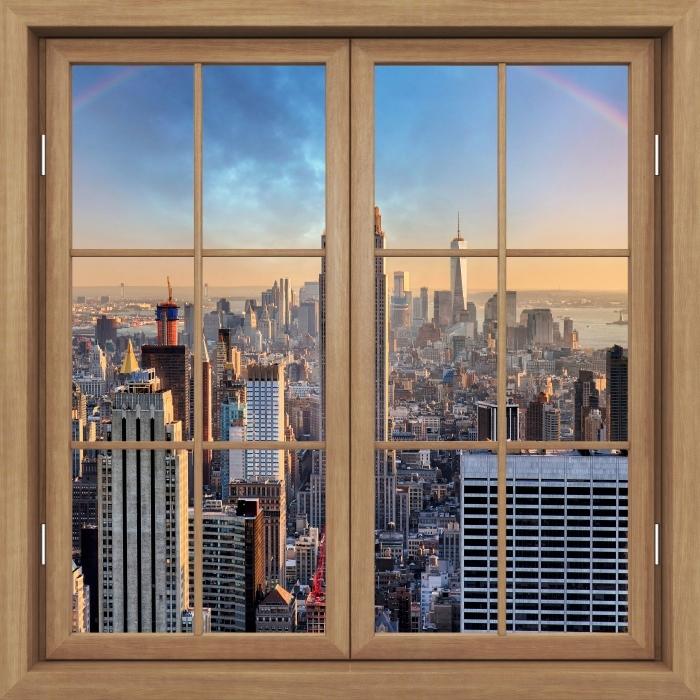 Fototapeta winylowa Okno brązowe zamknięte - Nowy Jork - Widok przez okno