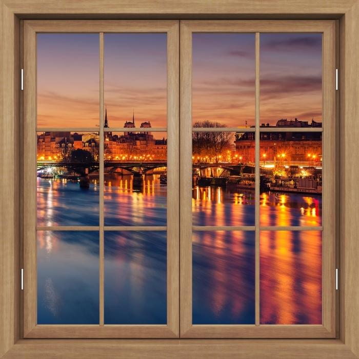 Papier peint vinyle Fenêtre Fermée Brown - Paris - La vue à travers la fenêtre