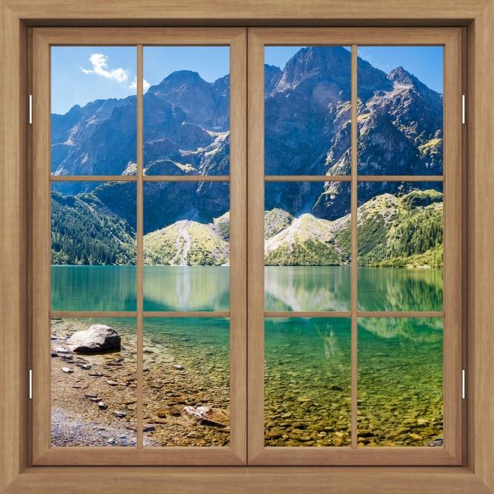 Fototapeta winylowa Okno brązowe zamknięte - Panorama Morskiego Oka - Widok przez okno
