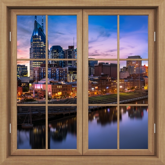 Brown window closed - Nashville Skyline Vinyl Wall Mural - View through the window