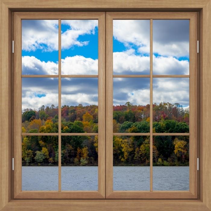 Fotomural Estándar Ventana de Brown cerrado - Otoño - Vistas a través de la ventana
