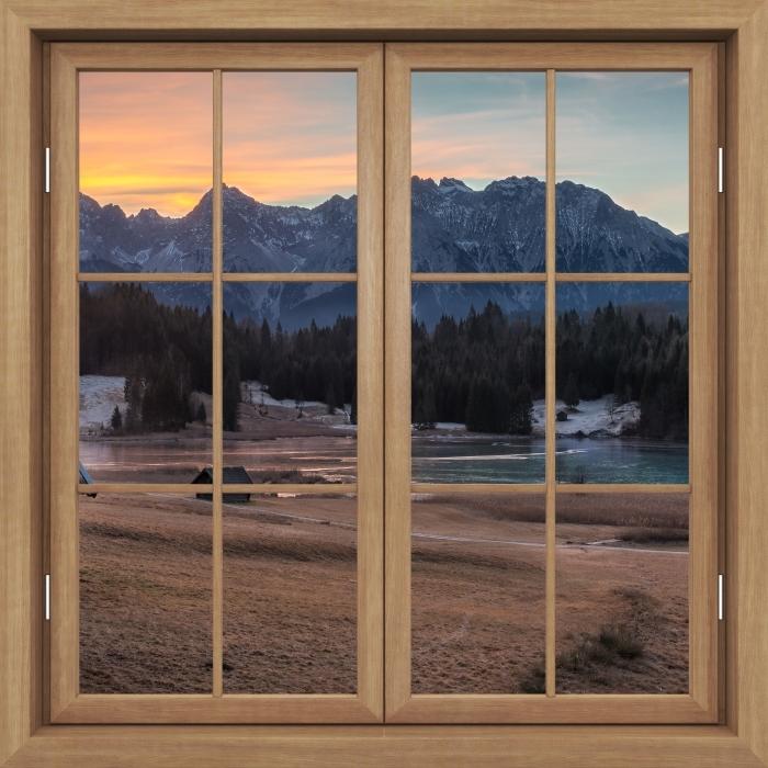 Fototapeta winylowa Okno brązowe zamknięte - Bawaria - Widok przez okno