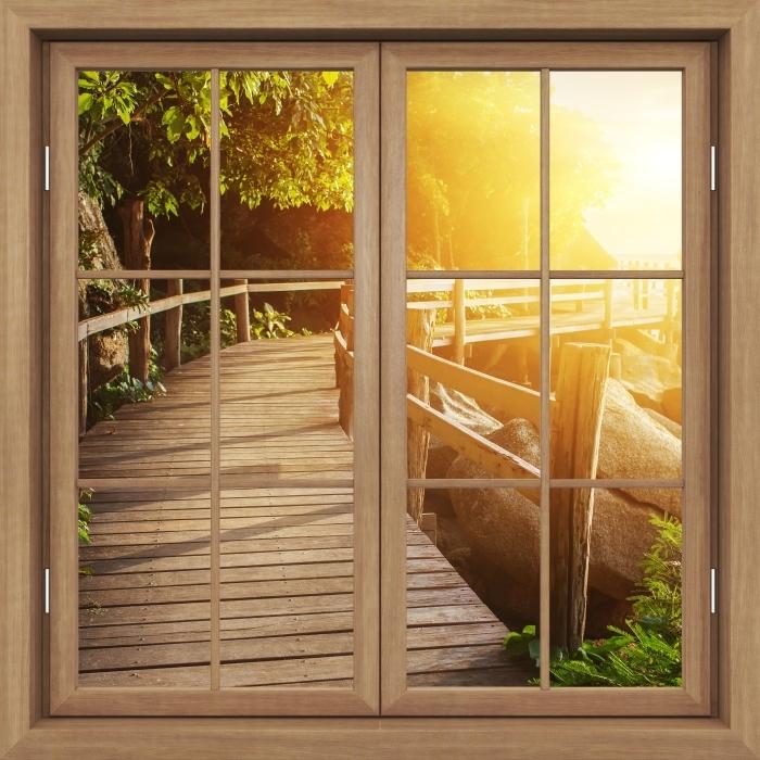 Vinyl Fotobehang Brown raam gesloten - Thailand - Uitzicht door het raam