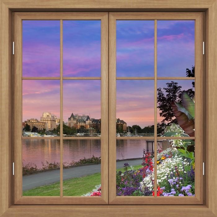 Fototapeta winylowa Okno brązowe zamknięte - Widok na rzekę. - Widok przez okno