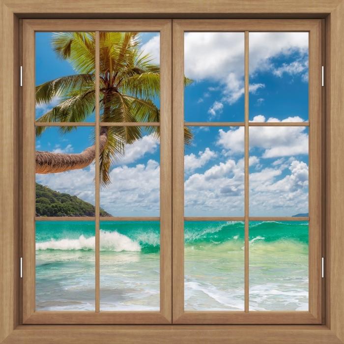 Fototapeta winylowa Okno brązowe zamknięte - Raj na plaży - Widok przez okno