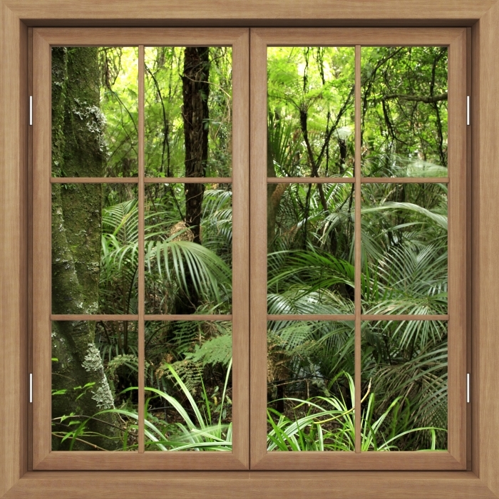 Fototapeta winylowa Okno brązowe zamknięte - Tropikalny las - Widok przez okno