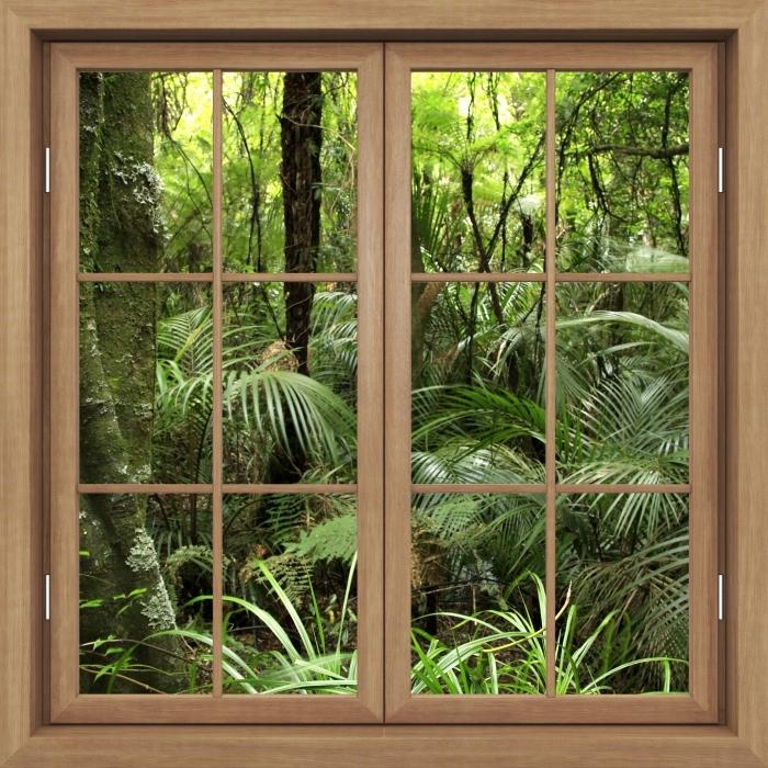 Papier peint vinyle Brown A Fermé La Fenêtre - Forêt Tropicale - La vue à travers la fenêtre