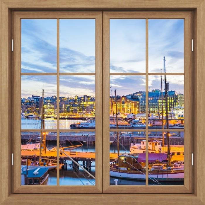 Fototapeta winylowa Okno brązowe zamknięte - Oslo - Widok przez okno