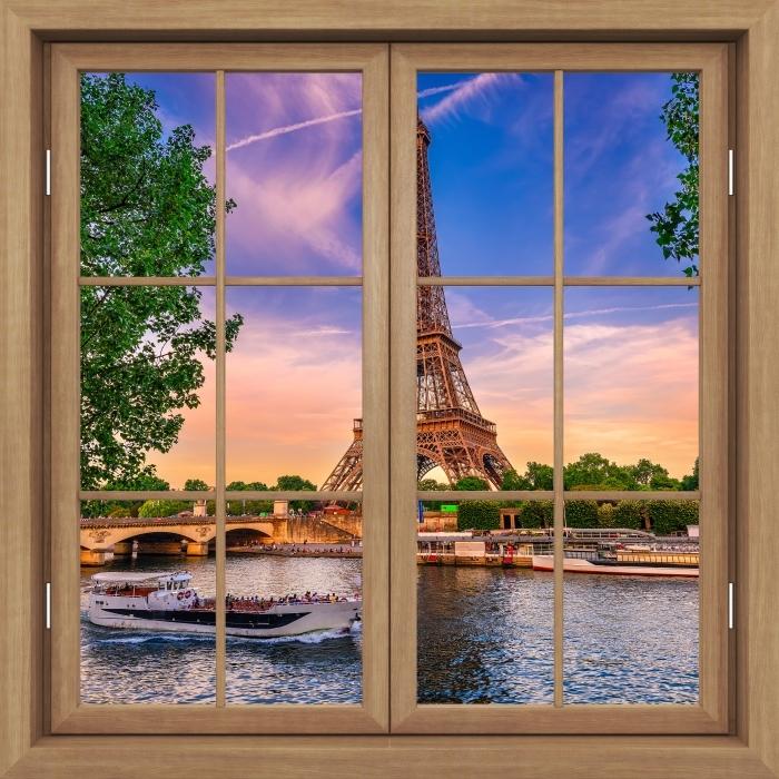 Vinyl-Fototapete Brown Fenster geschlossen - Paris und der Eiffelturm - Blick durch das Fenster