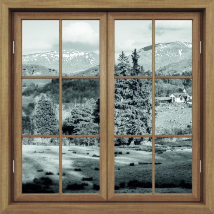 Vinyl-Fototapete Brown Fenster geschlossen - Lake District - Blick durch das Fenster