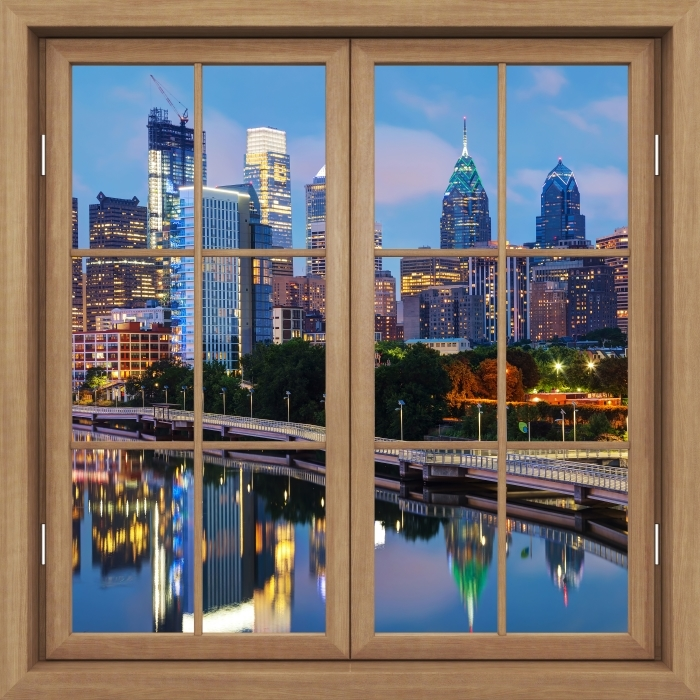 Vinyl-Fototapete Brown Fenster geschlossen - Philadelphia in der Nacht - Blick durch das Fenster