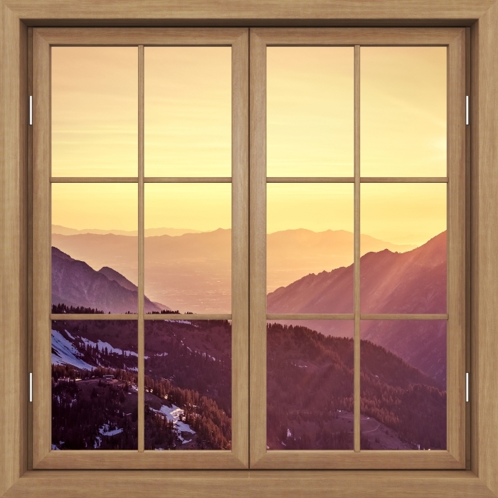 Brown window closed - Sunset in the mountains Vinyl Wall Mural - View through the window