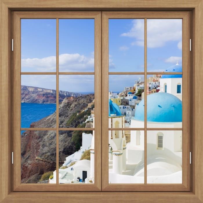 Plakat Okno brązowe zamknięte - Krajobraz Santorini - Widok przez okno