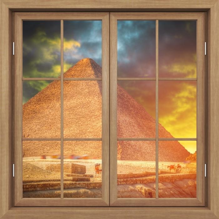 Papier peint vinyle Fenêtre Fermée Brown - Pyramides De Gizeh - La vue à travers la fenêtre