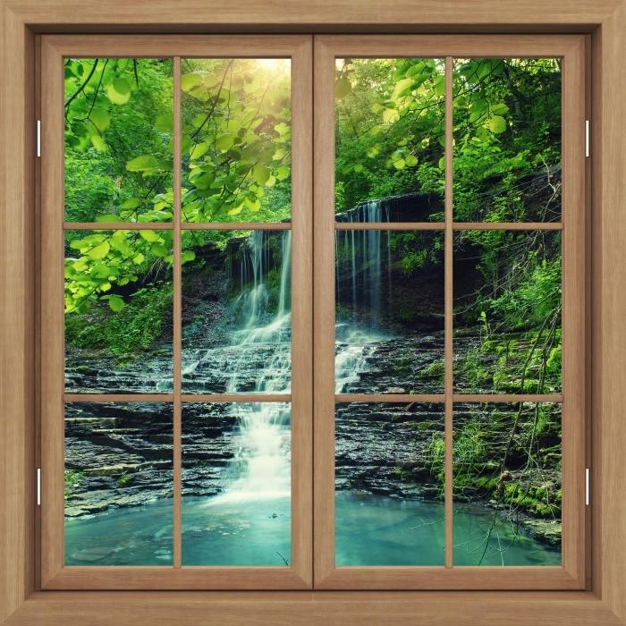 Brown window closed - Waterfall Vinyl Wall Mural - View through the window