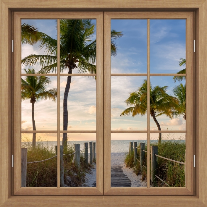 Papier peint vinyle Fenêtre Fermée Brown - Panorama - La vue à travers la fenêtre