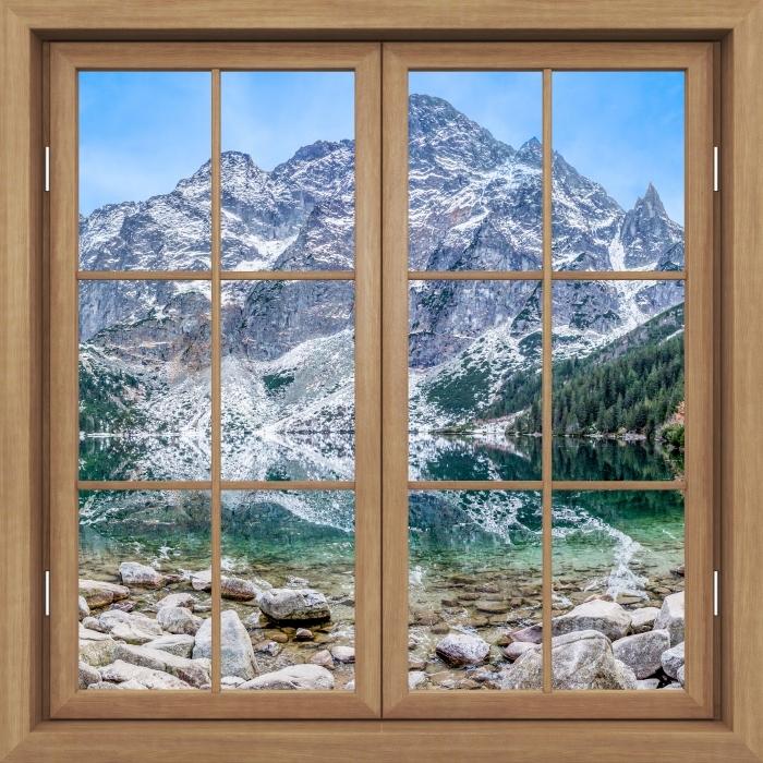 Fototapeta winylowa Okno brązowe zamknięte - Morskie Oko - Widok przez okno