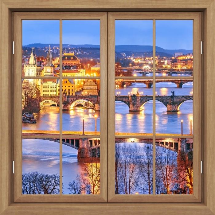 Vinyl-Fototapete Brown schloss das Fenster - Prag - Blick durch das Fenster