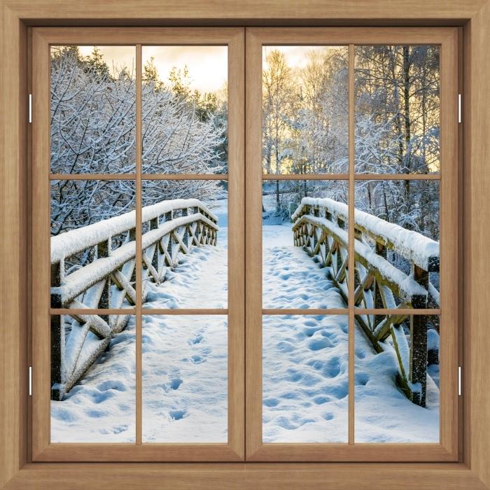 Fototapeta winylowa Okno brązowe zamknięte - Zimowy most - Widok przez okno