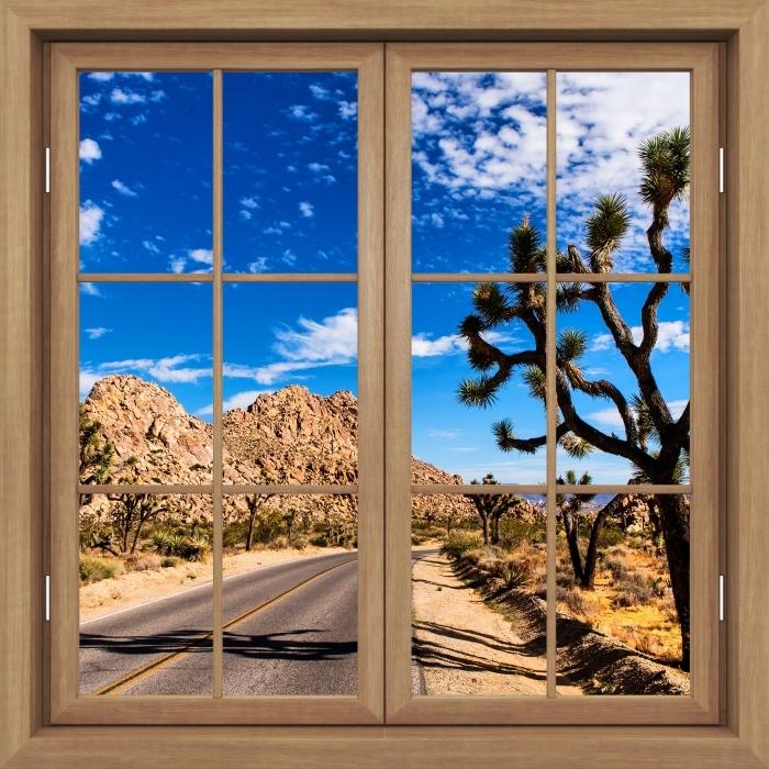 Fototapeta winylowa Okno brązowe zamknięte - Park Narodowy w Kalifornii - Widok przez okno