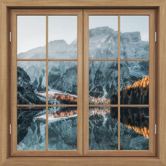 Papier peint vinyle Fenêtre Fermée Brown - Bateaux. Montagnes Dolomites - La vue à travers la fenêtre