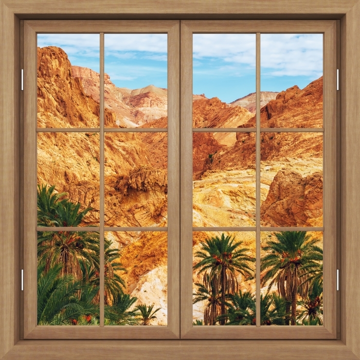 Brown window closed - Mountain oasis Vinyl Wall Mural - View through the window