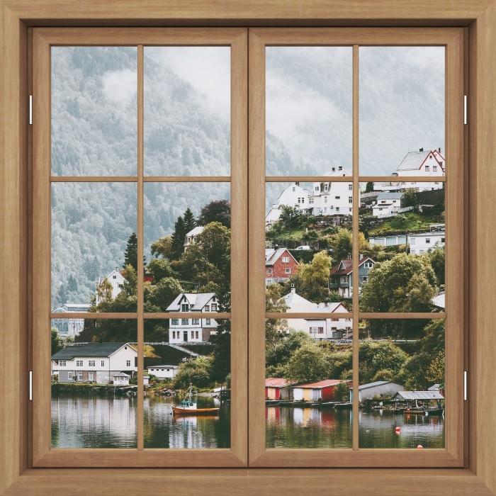 Fototapeta winylowa Okno brązowe zamknięte - Mgliste góry. - Widok przez okno