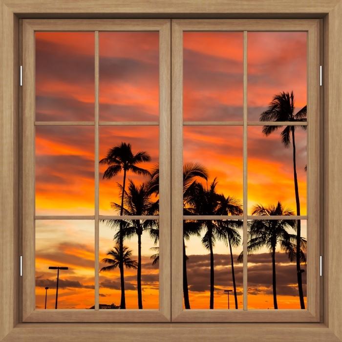 Brown window closed - Hawaii Vinyl Wall Mural - View through the window