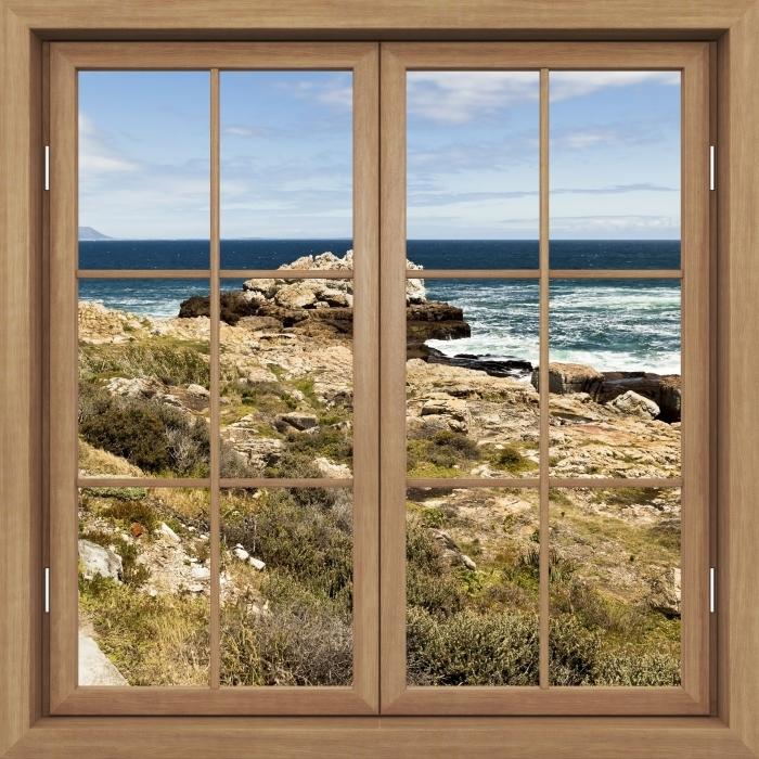 Fototapeta winylowa Okno brązowe zamknięte - Nad morzem. - Widok przez okno