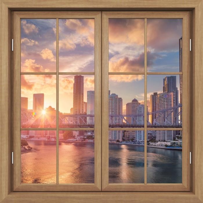 Fototapeta winylowa Okno brązowe zamknięte - Brisbane. - Widok przez okno