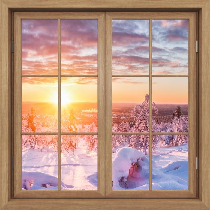 Fototapeta winylowa Okno brązowe zamknięte - Skandynawia o zachodzie słońca - Widok przez okno