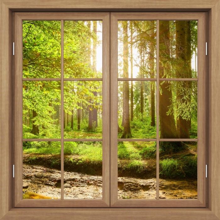 Papier peint vinyle Fenêtre Fermée Brown - Forêt - La vue à travers la fenêtre
