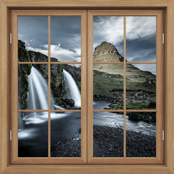 Fototapeta winylowa Okno brązowe zamknięte - Wodospad. Islandia. - Widok przez okno