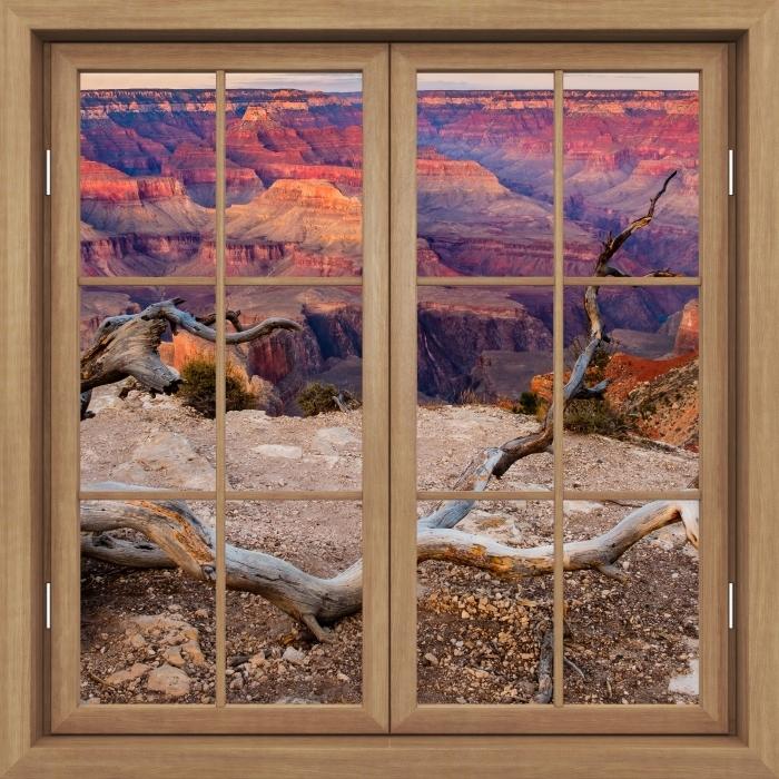 Vinyl-Fototapete Brown Fenster geschlossen - Grand Canyon - Blick durch das Fenster