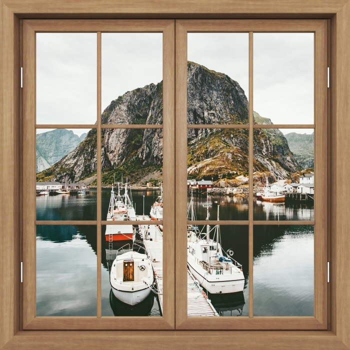 Fototapeta winylowa Okno brązowe zamknięte - Krajobraz. Norwegia - Widok przez okno