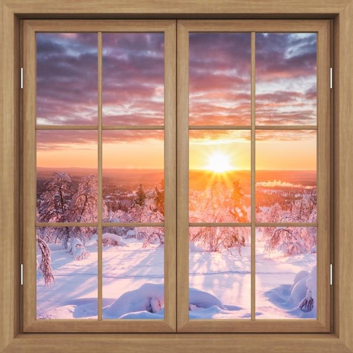 Carta da Parati in Vinile Finestra marrone chiuso - Scandinavia. Paesaggio al tramonto - Vista attraverso la finestra