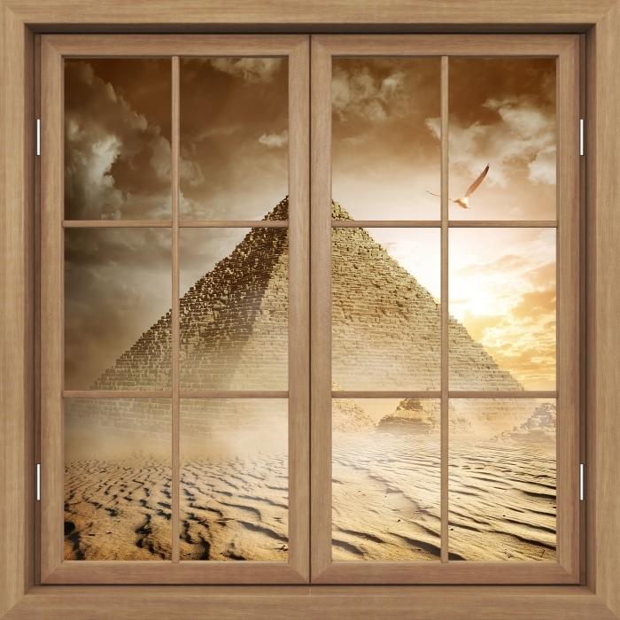 Vinyl-Fototapete Brown Fenster geschlossen - Desert - Blick durch das Fenster