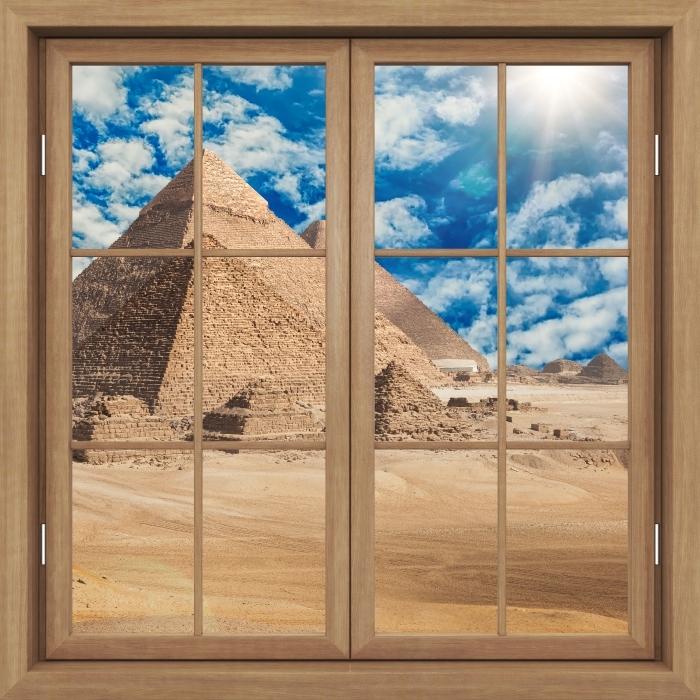 Papier peint vinyle Fenêtre Fermée Brown - Egypte - La vue à travers la fenêtre