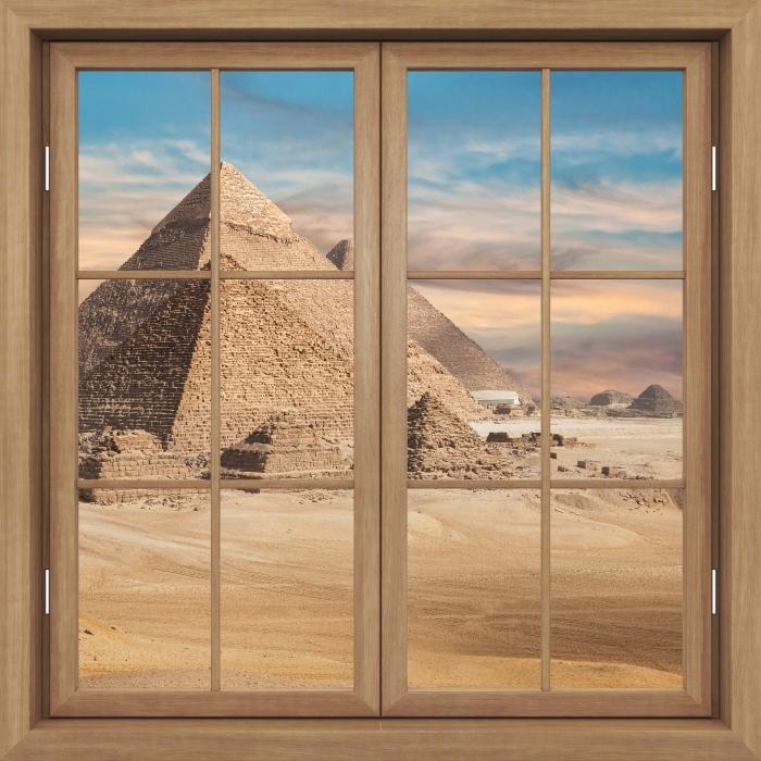Vinyl Fotobehang Brown raam gesloten - Egypte - Uitzicht door het raam