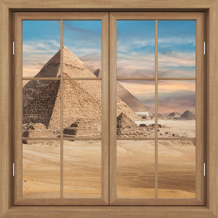 Brown window closed - Egypt Vinyl Wall Mural - View through the window