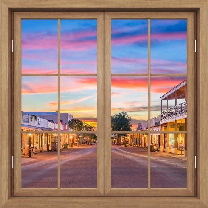 Vinyl-Fototapete Brown Fenster geschlossen - Arizona - Blick durch das Fenster