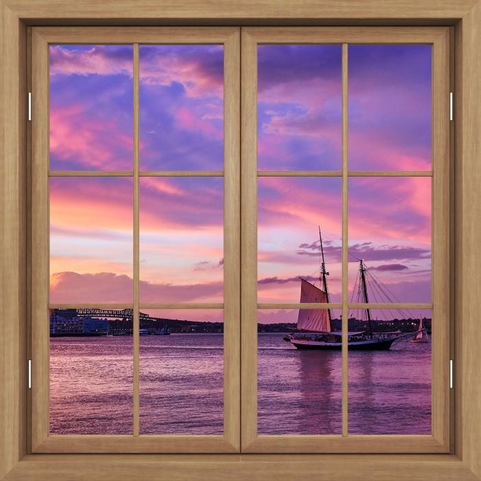 Vinyl-Fototapete Brown Fenster geschlossen - Erstaunlicher Sonnenuntergang am Hafen von Boston - Blick durch das Fenster
