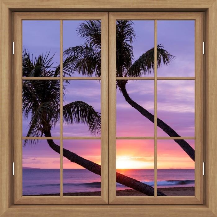 Vinyl Fotobehang Brown raam gesloten - Palma - Uitzicht door het raam
