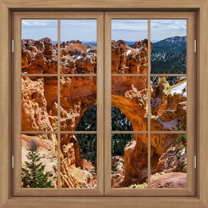 Fototapeta winylowa Okno brązowe zamknięte - Kanion - Widok przez okno