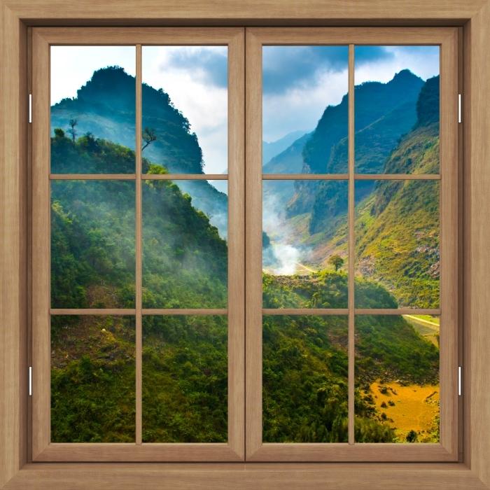Fototapeta winylowa Okno brązowe zamknięte - Ha Giang. Wietnam. - Widok przez okno