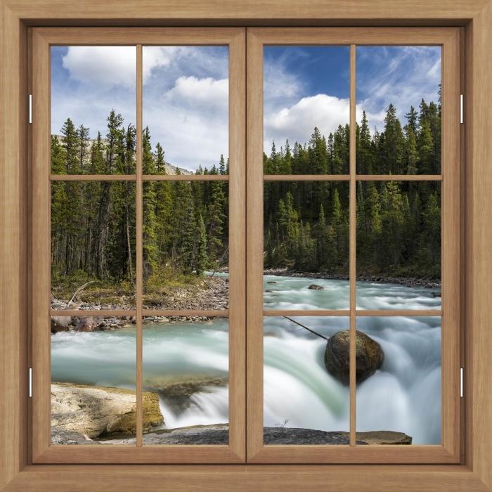 Fototapeta winylowa Okno brązowe zamknięte - Kanada - Widok przez okno